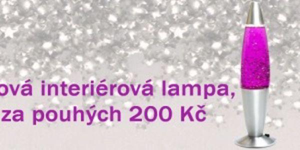 Designové lávové lampy s glitry na stříbrném podstavci
