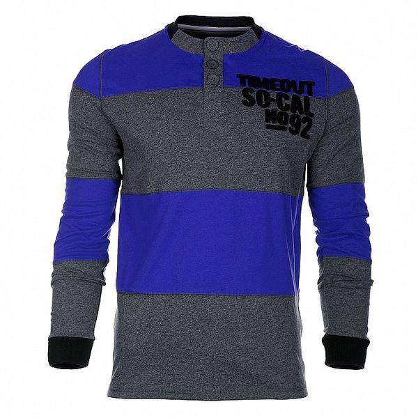 Pánské modro-šedé proužkované tričko Timeout