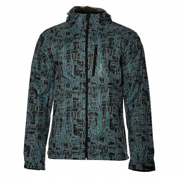 Pánská černá bunda Loap se světle modrým potiskem