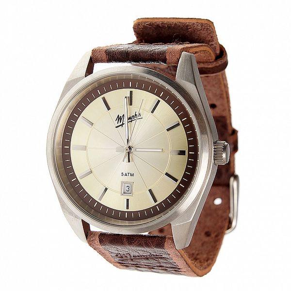 Pánské tmavě hnědé ocelové hodinky Memphis