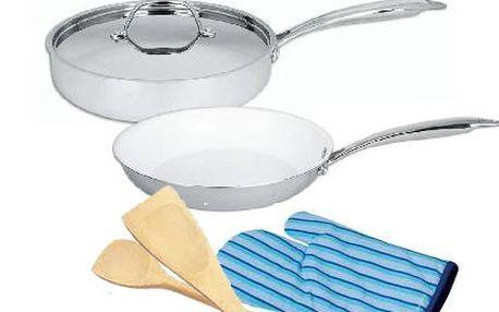 Sada nerezového nádobí s keramickou vrstvou! Dvě pánve v různých rozměrech s poklicí pro skvělé vaření!