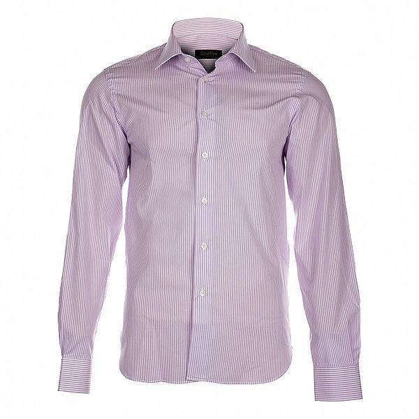 Pánská košile Calvin Klein s úzkým růžovým proužkem