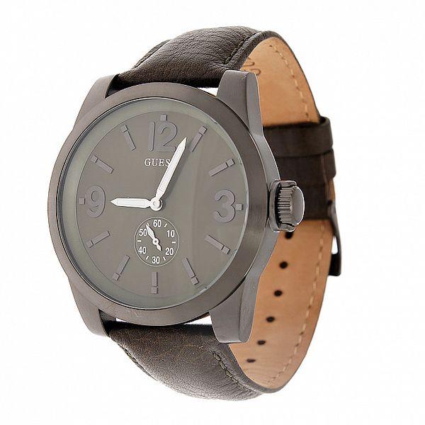 Pánské ocelově šedé hodinky Guess s koženým páskem
