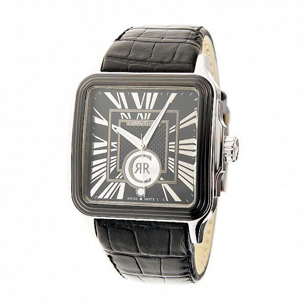 Pánské hodinky Cerruti 1881 s černým koženým páskem
