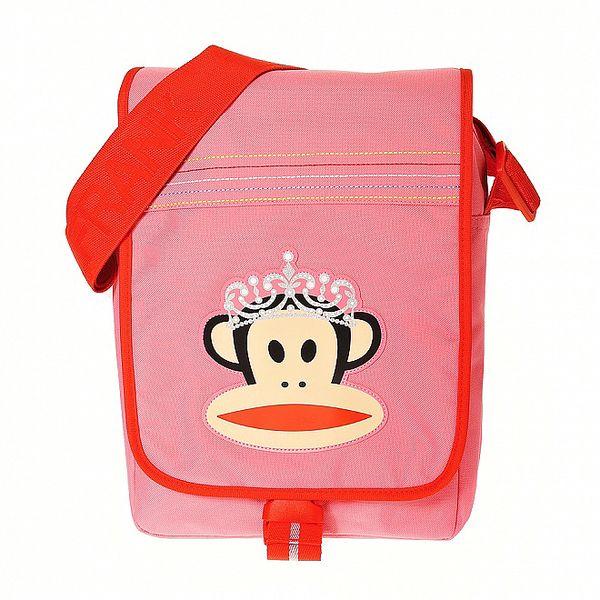 Růžová taška Paul Frank s červeným lemem