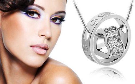Náhrdelník kroužek Swarovski! Prsten se srdcem jako krásný přívěsek na řetízku!