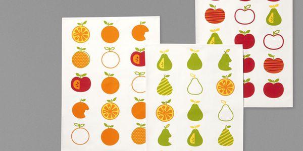 Utěrky na nádobí se třemi různými motivy ovoce, 3 ks