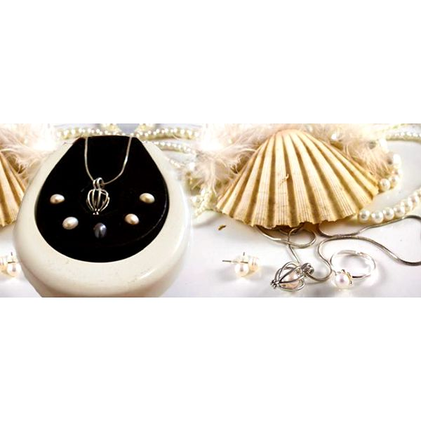 Sada pěti pravých perel nebo perla přání ve stříbře