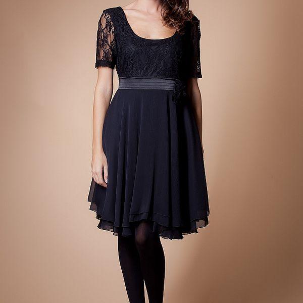 Dámské černé šaty Poete s krajkou
