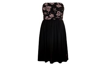 Dámské černé šaty Pussy Deluxe s korzetovým vrškem a nabíranou sukní