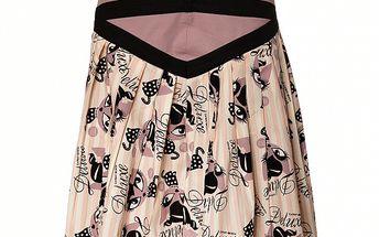 Dámská krémová skládaná sukně Pussy Deluxe s růžovým proužkem a černým potiskem