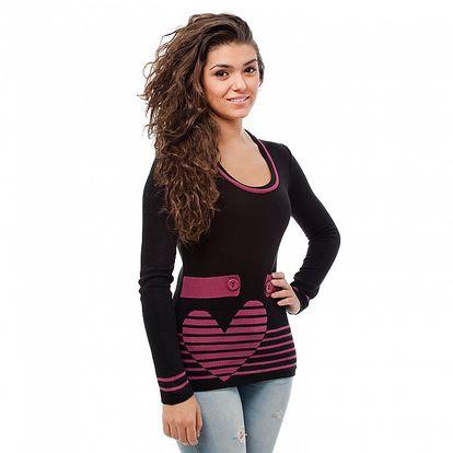 Dámský černo-růžový svetr Avispada se srdcem