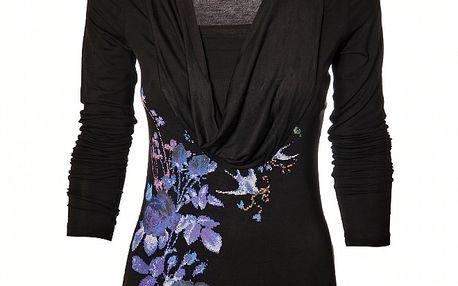 Dámské černé tričko Pussy Deluxe s barevným potiskem