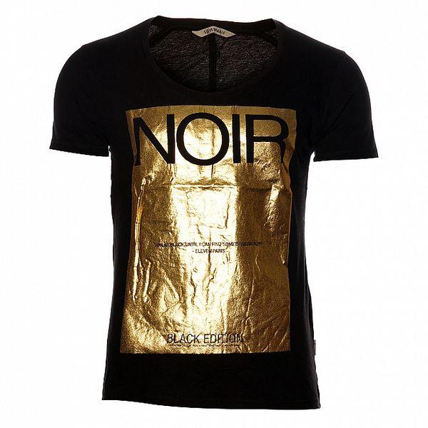 Dámské černé tričko Eleven Paris se zlatým potiskem