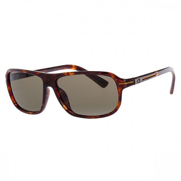 Pánské hnědé žíhané sluneční brýle Calvin Klein