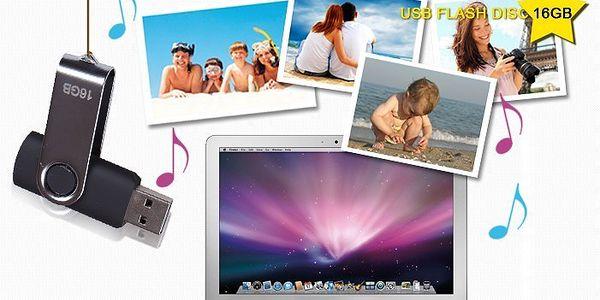 Elegantní USB flash disk s prakticky krytým konektorem o kapacitě 16GB.
