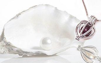 Náhrdelník s pravou perlou! Perlu vyjmete z lastury a vložíte do přívěsku. Včetně poštovného!