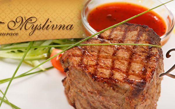 Večeře pro dva: sťavnatý steak z vepřové panenky s omáčkou a přílohou
