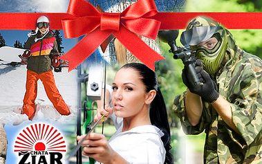 Tip na darček: Najobľúbenejší zimný alebo letný ADRENALÍNOVÝ balíček v Rajeckej Lesnej na CHATE ŽIAR! Paintball, skipass, zorbing, lanová dráha, a iné!