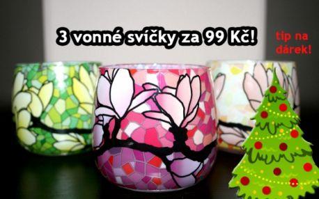 Tři vonné designové svíčky Magnolia ve stylu Tiffany vitráže jen za 99 Kč! Osobní odběr přímo v centru Prahy 1!