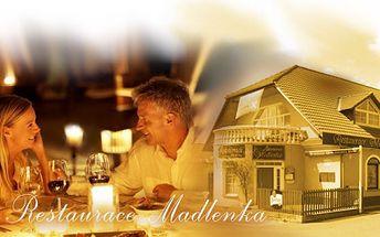 Zajděte si se svou drahou polovičkou na romantickou večeři pro dva s láhví vína! Restarace Medlenka v Pardubicích Vás ohromí výtečnou kuchyní!