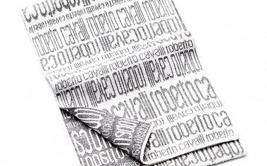 Pánská černo-bílá vlněná šála Roberto Cavalli