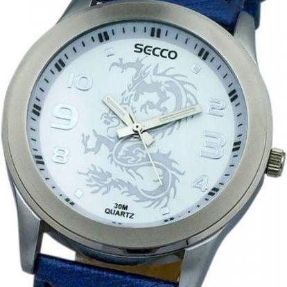 Dětské vodotěsné hodinky Secco S. S koženým řemínkem. V dárkovém kufříku.