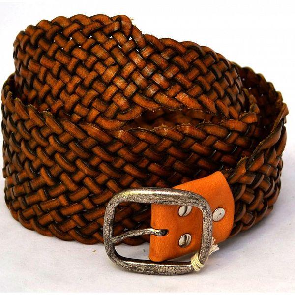 Dámský oranžovo-hnědý vyplétaný kožený pásek Mauro Grifoni