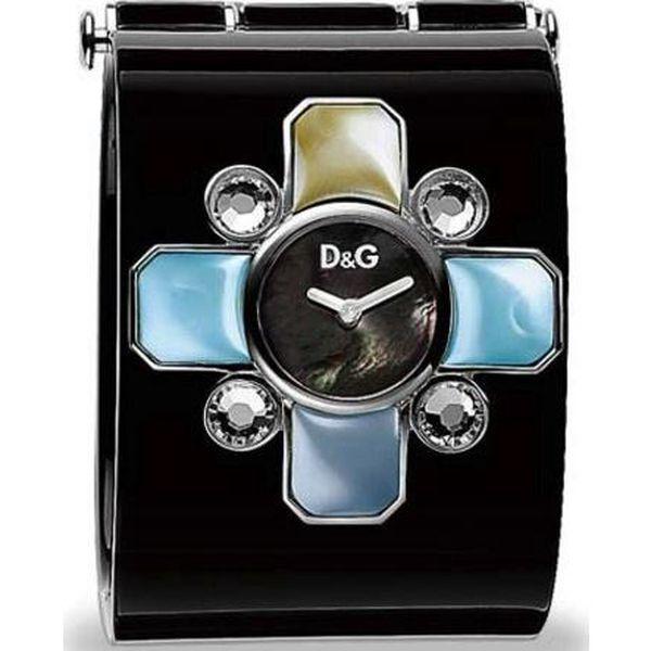 Dámské černé hodinky Dolce & Gabbana s barevnými krystaly
