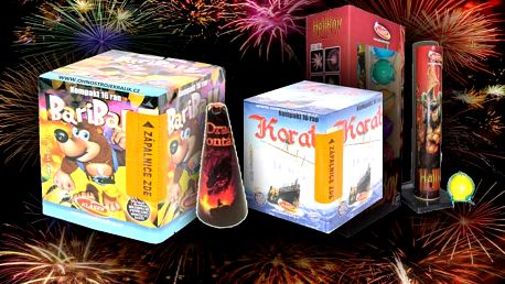 Silvestrovský ohňostroj obsahující 1x kulovou pumu, 2x kompaktní ohňostroj 32 ran a 1x dračí fontánu