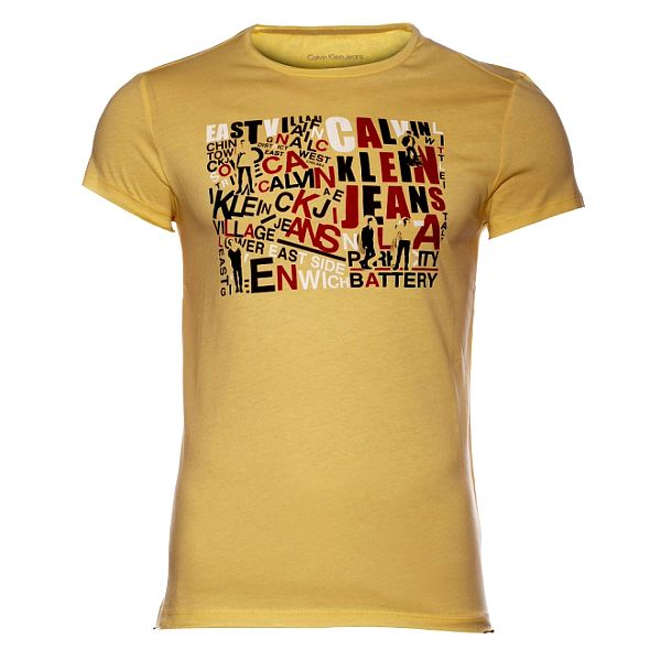 Pánské žluté tričko Calvin Klein s barevným potiskem