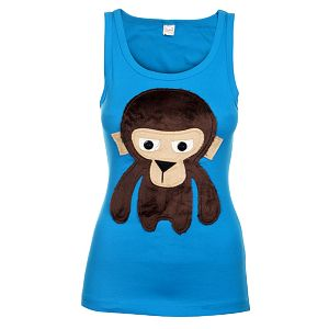 Dámske svetlo modré tielko Pussy Deluxe s opicou