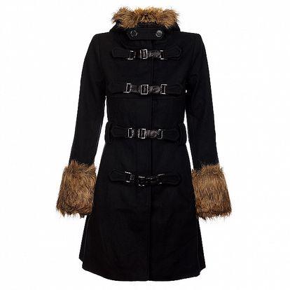 Dámský černý kabát Pussy Deluxe s přezkami a kožešinou