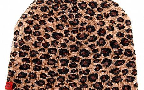 Oboustranná dámská pletená čepice Pussy Deluxe s leopardím vzorem