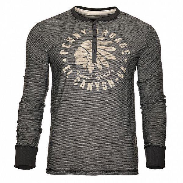 Pánské černé proužkované tričko Timeout s dlouhým rukávem a knoflíčky