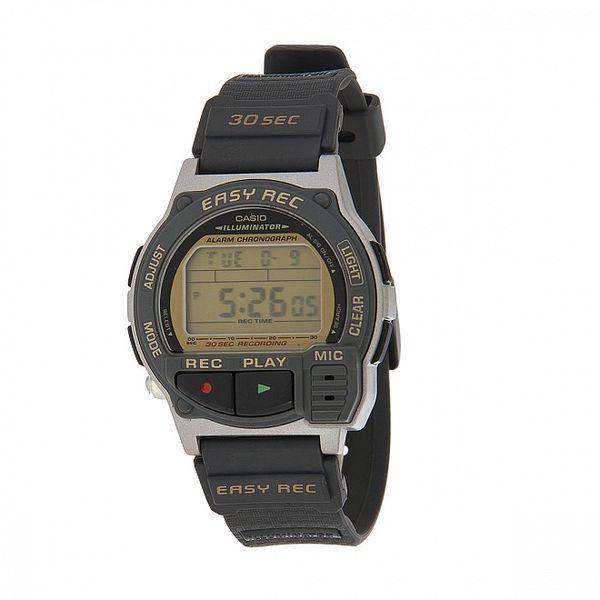 Pánske čierne digitálne hodinky Casio s čiernym pryžovým remienkom a záznamníkom