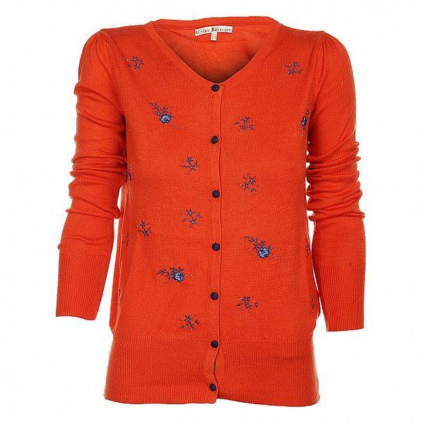 Dámsky oranžový kardigan Uttam Boutique s modrou výšivkou