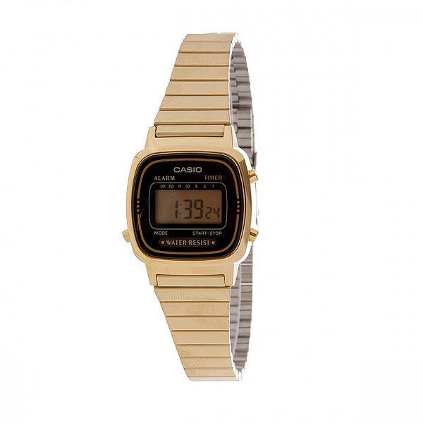 Dámské zlaté digitální hodinky Casio