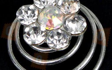 Vlasová dekorace ve tvaru kytiček zdobená třpytivými kamínky - 12 kusů a poštovné ZDARMA! - 732