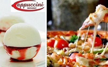 Pizza a zmrzlina! Vychutnejte si pravou italskou pizzu a vanilkovou zmrzlinu s horkými malinami!