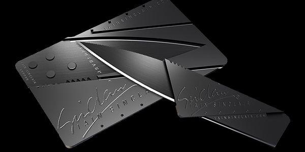 Skládací nůž velikosti karty do peněženky - černý a poštovné ZDARMA! - 2