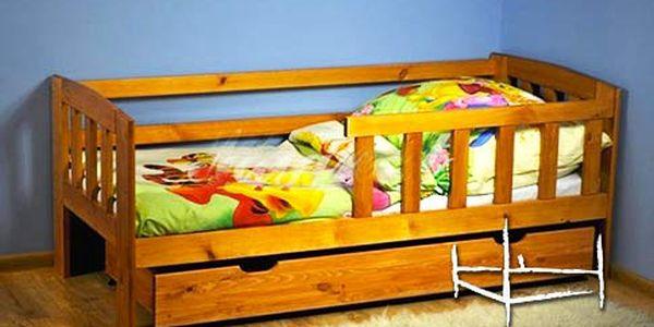 Dětská postel včetně roštu a matrace, z borovicového masivu, bezbarvý dekor nebo ořech, dub, olše
