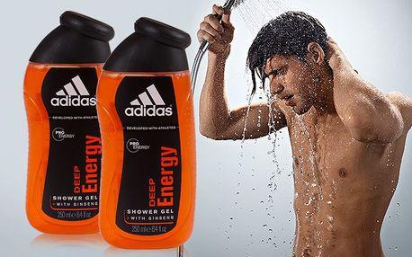 Dva pánské sprchové gely Adidas Deep Energy 250ml s citronově ovocnou vůní.