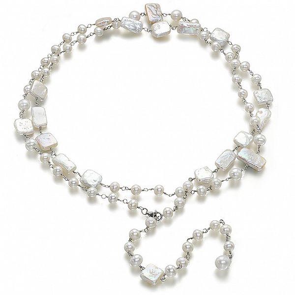 Bílý náhrdelník Orchira s perlami