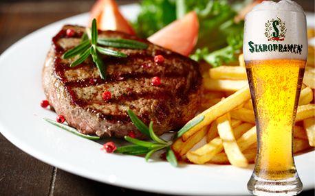 Len 6,99 € za 200g hovädzí steak s omáčkou, zeleninovou oblohou, prílohou podľa výberu a 0,3 dcl pivom Staropramen! To všetko v štýlovej reštaurácii FI.AT!