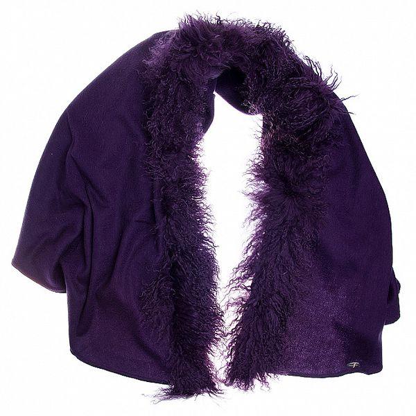 Dámska tmavo fialová vlnená šála Fraas s kožušinou