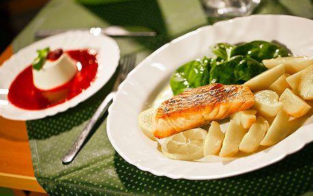 Mix jedinečných chutí v Talianskej reštaurácií len za 5€. Grilovaný losos a k nemu lahodný dezert panna cotta s 57% zľavou.