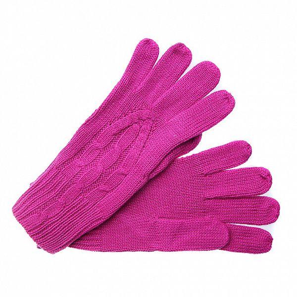 Dámské sytě růžové pletené rukavice Fraas