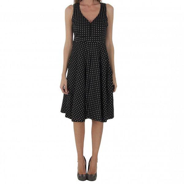 Dámske čierne bodkované šaty Naf Naf