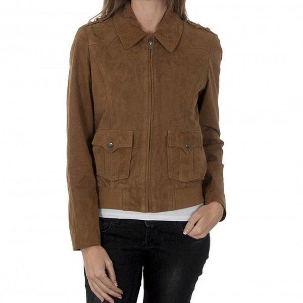 Dámska svetlo hnedá kožená bunda Naf Naf